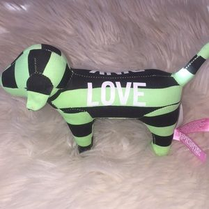 PINK collectible dog from VS black & green stripe
